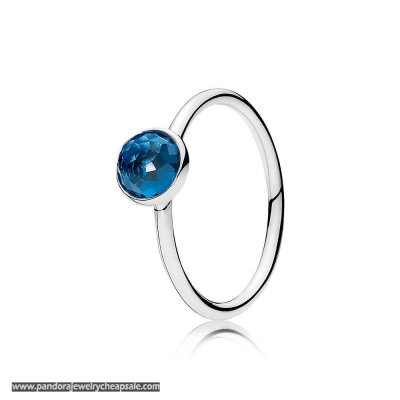 Pandora Rings December Droplet Ring London Blue Crystal Cheap Sale