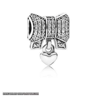 Pandora Sparkling Paves Charms Heart Bow Charm Clear Cz Cheap Sale