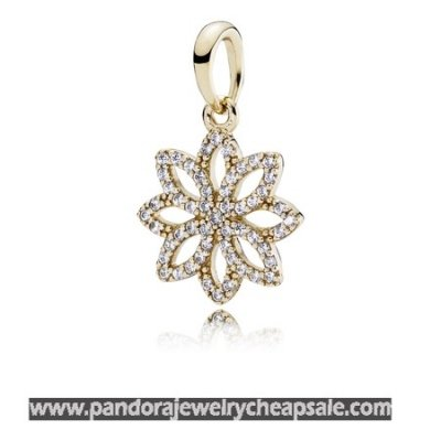 Pandora Pendants Lace Botanique Pendant Clear Cz 14K Gold Cheap Sale
