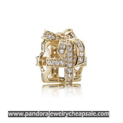 Pandora Collections All Wrapped Up Charm Clear Cz 14K Gold Cheap Sale