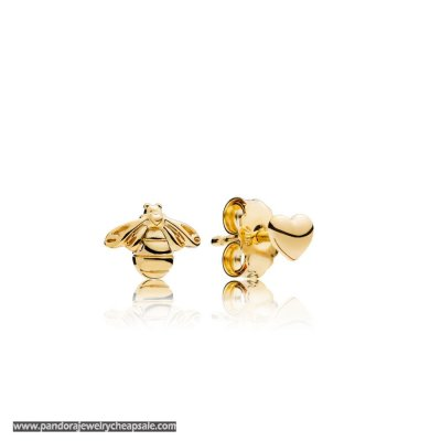 Pandora Bee And Heart Earring Studs Cheap Sale