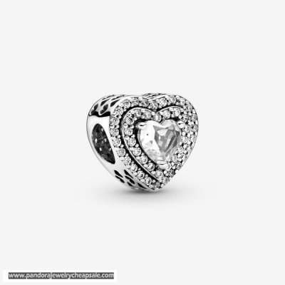 Pandora Sparkling Levelled Hearts Charm Cheap Sale