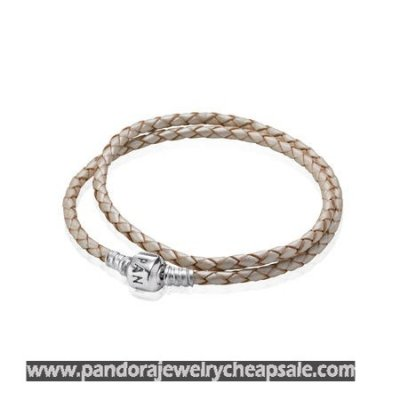 Pandora Bracelets Leather Champagne Braided Double Leather Charm Bracelet Cheap Sale