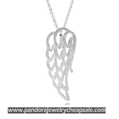 Pandora Chains With Pendant Angel Wing Pendant Necklace Clear Cz Cheap Sale