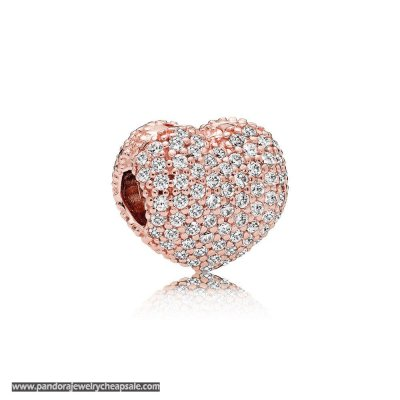 Pandora Symbols Of Love Charms Pave Open My Heart Clip Rose Clear Cz Cheap Sale