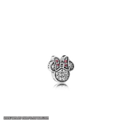 Pandora Disney Charms Sparkling Minnie Icon Petite Charm Red Clear Cz Cheap Sale