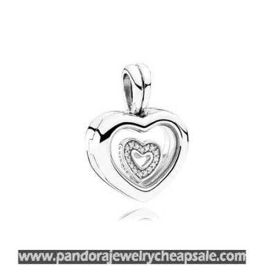 Pandora Lockets Floating Heart Locket Sapphire Crystal Glass Clear Cheap Sale