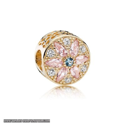 Pandora Nature Charms Opulent Floral Charm 14K Gold Multi Colored Crystals Clear Cz Cheap Sale