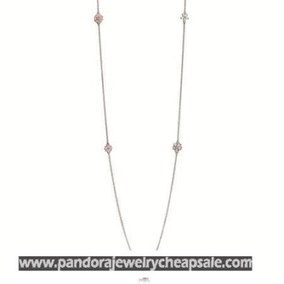 Pandora Chains Poetic Blooms Necklace Mixed Enamels Clear Cz Blush Pink Crystal Cheap Sale