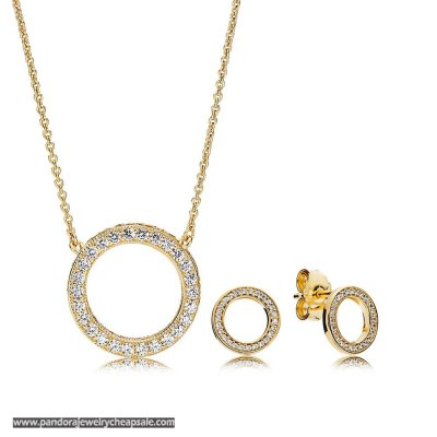 Pandora Shine Forever Necklace And Earring Set Cheap Sale