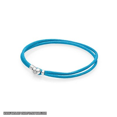 Pandora Bracelets Cord Turquoise Fabric Cord Double Braided Leather Bracelets Cheap Sale