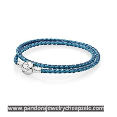 Pandora Bracelets Leather Mixed Blue Woven Double Leather Charm Bracelet Cheap Sale