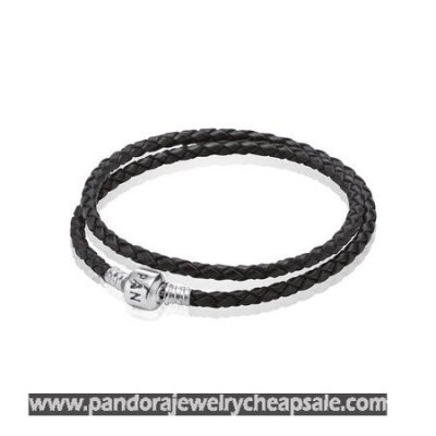 Pandora Bracelets Leather Black Braided Double Leather Charm Bracelet Cheap Sale