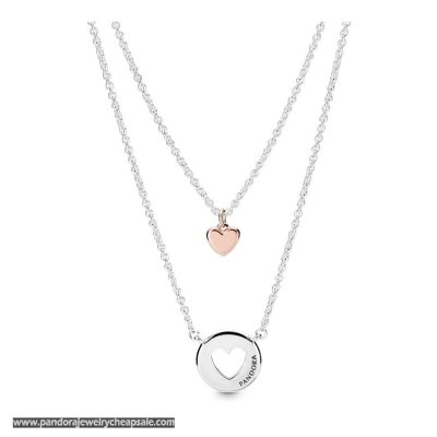 Pandora Layered Heart Necklace Cheap Sale