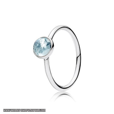 Pandora Rings March Droplet Ring Aqua Blue Crystal Cheap Sale
