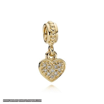 Pandora Sparkling Paves Charms Pave Hanging Heart Pendant Charm 14K Gold Diamond Cheap Sale