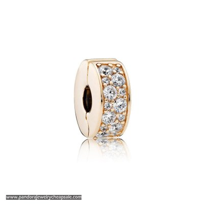 Pandora Sparkling Paves Charms Shining Elegance Clip 14K Gold Clear Cz Cheap Sale
