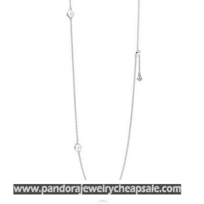 Pandora Chains With Pendant Luminous Dainty Droplets Necklace White Crystal Pearl Cheap Sale