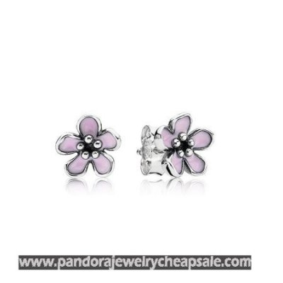 Pandora Earrings Cherry Blossom Stud Earrings Pink Enamel Cheap Sale