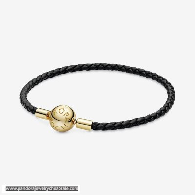 Pandora Moments Black Woven Leather Bracelet Cheap Sale