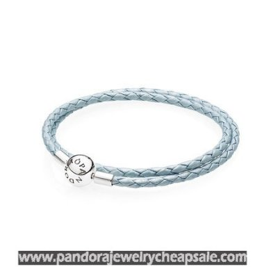 Pandora Bracelets Leather Light Blue Leather Charm Bracelet Cheap Sale