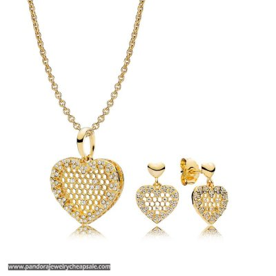Pandora Shine Honeycomb Lace Necklace And Earring Set Cheap Sale