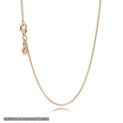 Pandora Chains Necklace Chain Sterling Silver 14K Rose Gold Cheap Sale