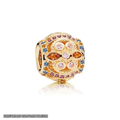 Pandora Winter Collection Color Fresco Charm 14K Gold Multi Colored Crystals Pink Cz Cheap Sale