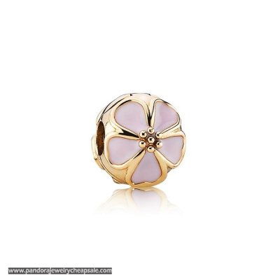 Pandora Collections Cherry Blossom Clip Charm Pink Enamel 14K Gold Cheap Sale