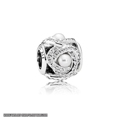 Pandora Wedding Anniversary Charms Luminous Love Knot White Crystal Pearl Clear Cz Cheap Sale