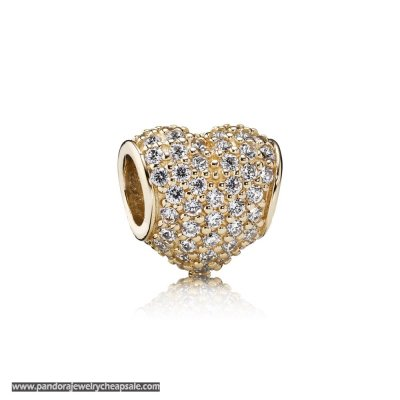 Pandora Sparkling Paves Charms Pave Heart Charm Clear Cz 14K Gold Cheap Sale