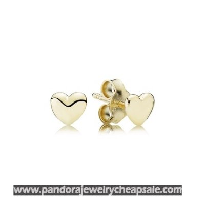 Pandora Collections Petite Heart Stud Earrings 14K Gold Cheap Sale