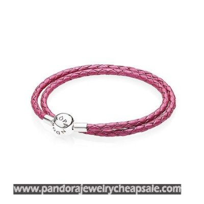 Pandora Bracelets Leather Honeysuckle Pink Leather Charm Bracelet Cheap Sale