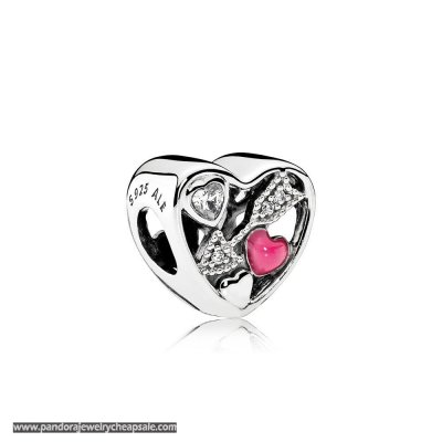 Pandora Symbols Of Love Charms Struck By Love Magenta Enamel Clear Cz Cheap Sale