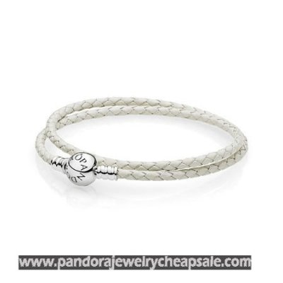 Pandora Bracelets Leather Ivory White Braided Double Leather Charm Bracelet Cheap Sale