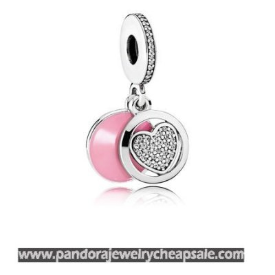 Pandora Valentine'S Day Charms Devoted Heart Pendant Charm Pink Enamel Clear Cz Cheap Sale
