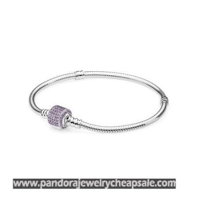 Pandora Bracelets Classic Signature Clasp Bracelet Fancy Purple Cz Cheap Sale