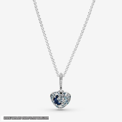 Pandora Sparkling Blue Moon And Stars Heart Necklace Cheap Sale