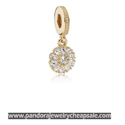 Pandora Collections Embellished Floral Pendant Charm 14K Gold Clear Cz Cheap Sale
