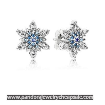 Pandora Earrings Crystalized Snowflake Stud Earrings Blue Crystals Clear Cz Cheap Sale