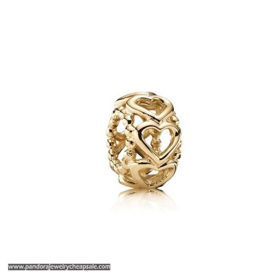 Pandora Spacers Charms Lucky In Love Heart Spacer 14K Gold Cheap Sale