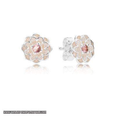 Pandora Earrings Blooming Dahlia Stud Earrings Cream Enamel Blush Pink Crystals Cheap Sale