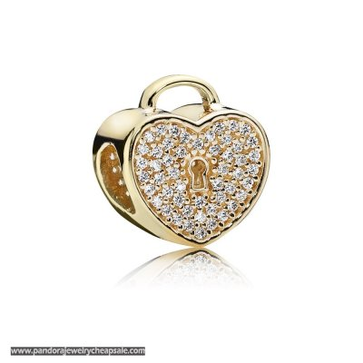 Pandora Sparkling Paves Charms Heart Lock Charm Clear Cz 14K Gold Cheap Sale