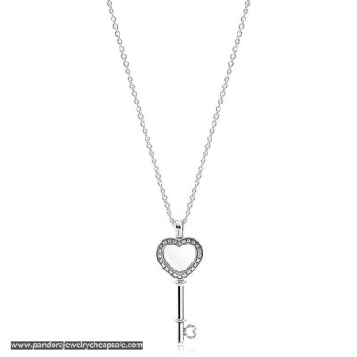 Pandora Floating Locket Heart Key Necklace Sapphire Crystal Cheap Sale
