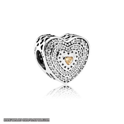 Pandora Symbols Of Love Charms Lavish Heart Charm Fancy Colored Clear Cz Cheap Sale