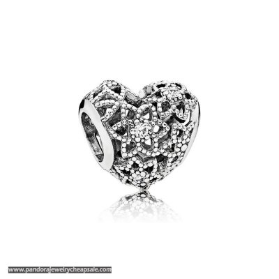Pandora Sparkling Paves Charms Blooming Heart Charm Clear Cz Cheap Sale