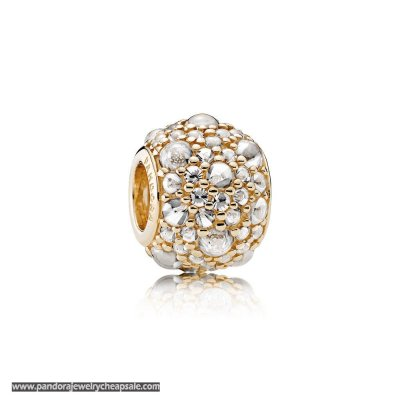 Pandora Sparkling Paves Charms Shimmering Droplets Charm 14K Gold Clear Cz Cheap Sale
