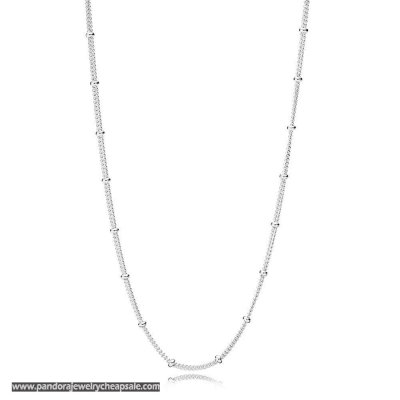 Pandora Silver Beaded Necklace Chain Cheap Sale