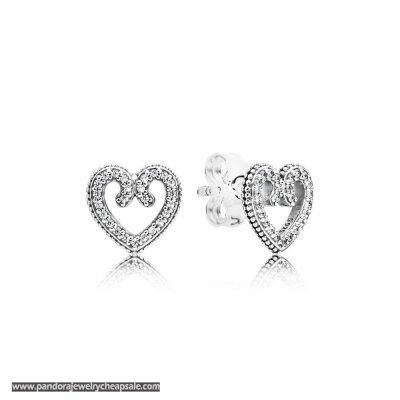 Pandora Heart Swirls Earring Studs Cheap Sale