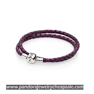 Pandora Bracelets Leather Purple Braided Double Leather Charm Bracelet Cheap Sale